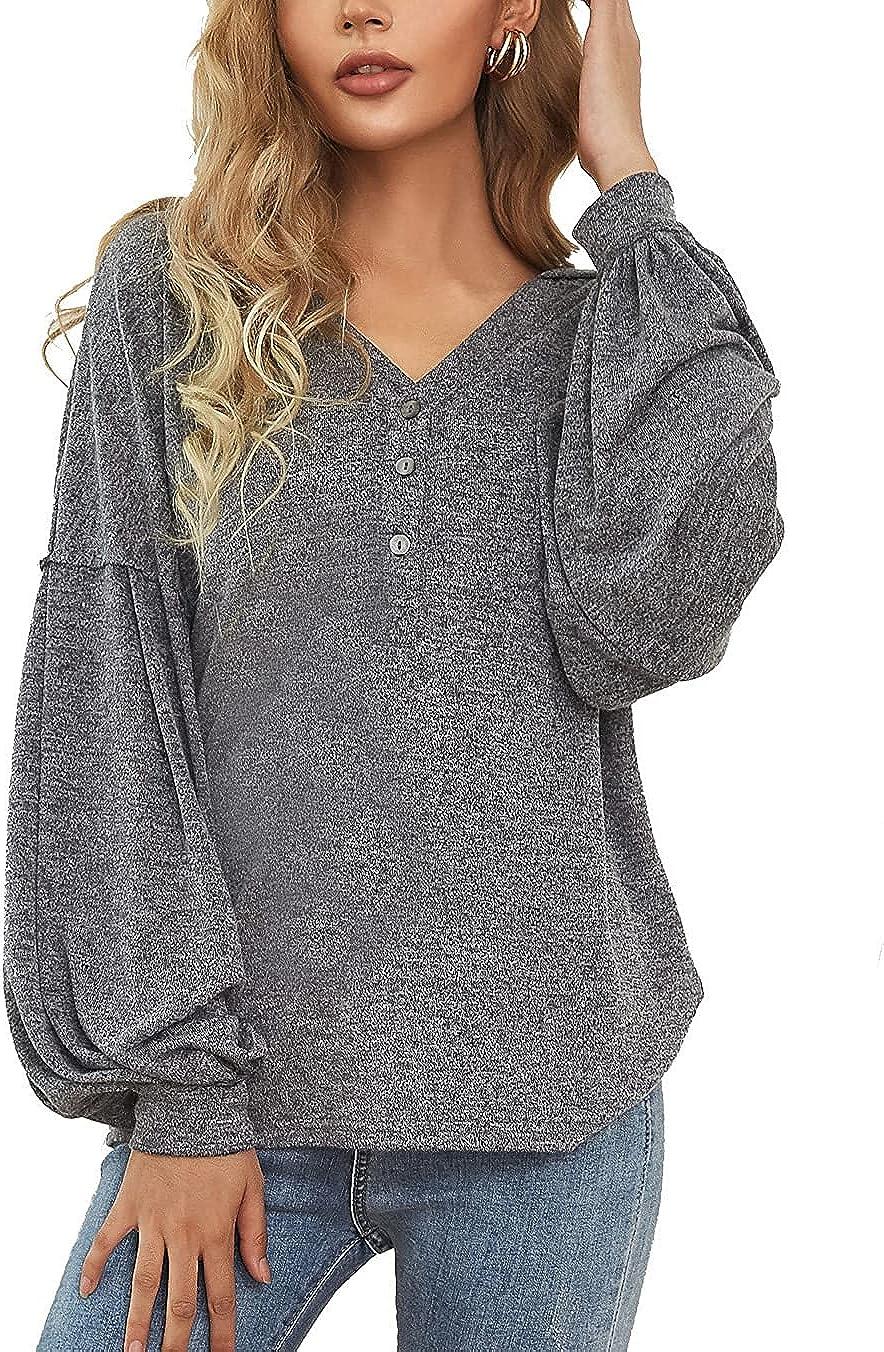 Kate Kasin Women's Causal Hoodie V Neck Lantern Long Sleeve Button Top Loose Lightweight Sweatshirt