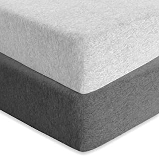 Baby Fitted Crib Mattress Sheets 2 Pack by Cuddly Cubs | Toddler Bed Sheets | Heather Grey Crib Sheets Set for Boy or Girl | 100% Stretchy Jersey Cotton