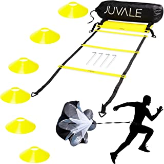 Juvale Speed and Agility Training Set - Includes Agility Ladder with Carrying Bag,  6 Disc Cones,  Resistance Parachute,  4 Steel Stakes - for Speed,  Coordination,  Footwork,  Explosiveness,  Black,  Yellow