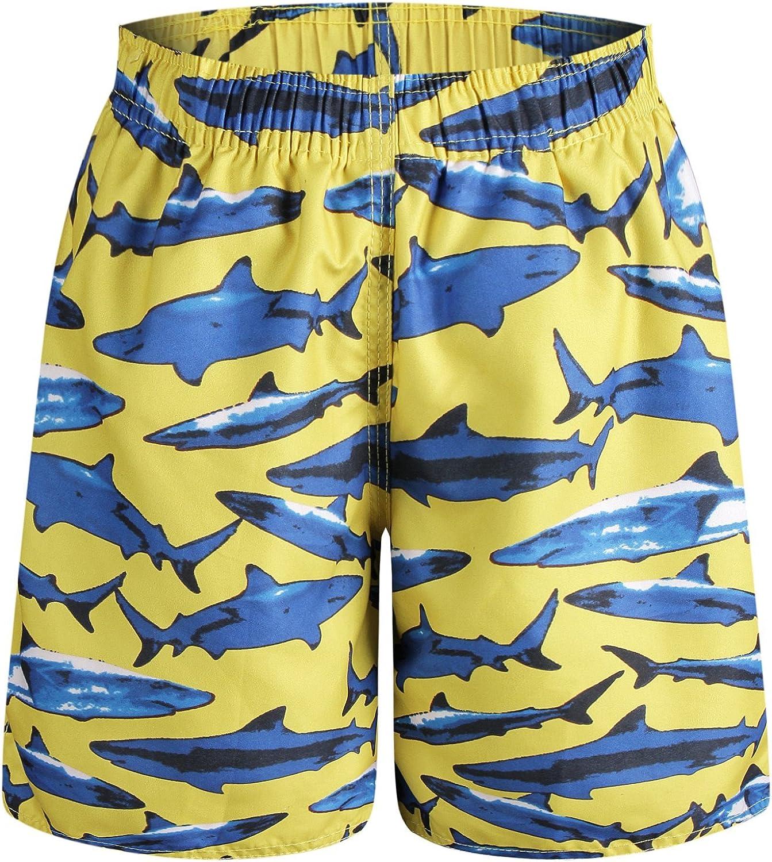 QRANSS Boys Kids Shark Printed Swim Trunks Board Shorts with Pockets