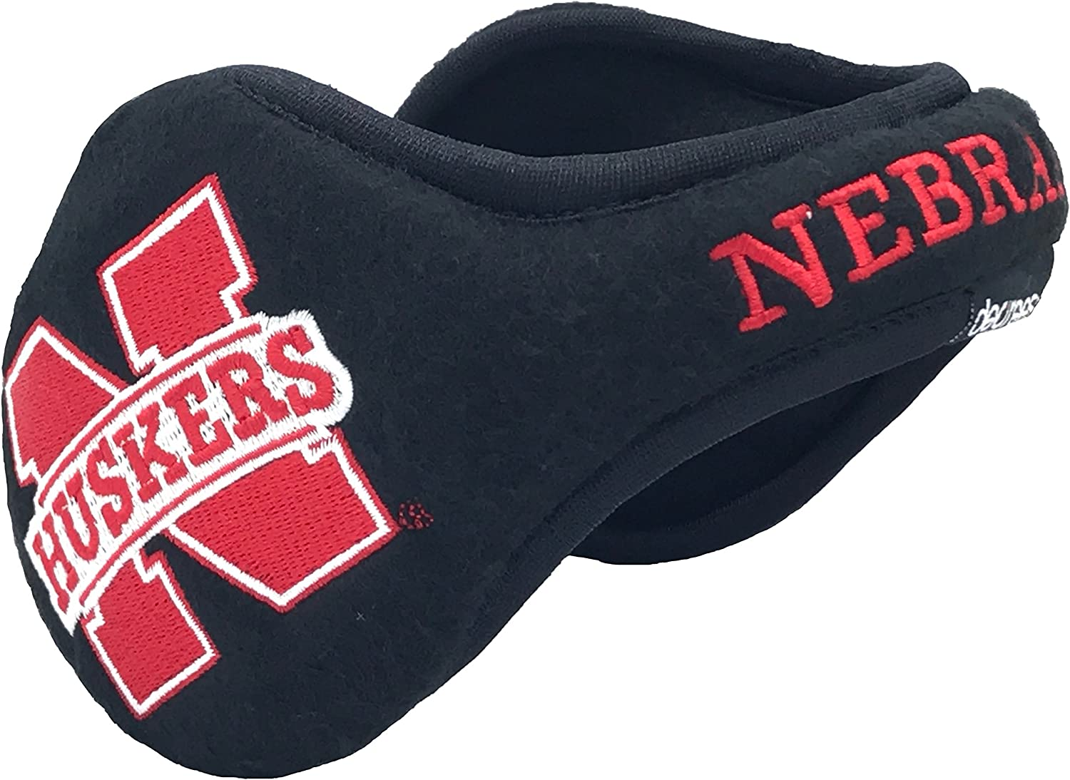 Degrees By 180s NCAA Nebraska Huskers Collapsible Behind-The-Head Fleece Winter Ear Warmer, Unisex, One Size Fits Most, Black