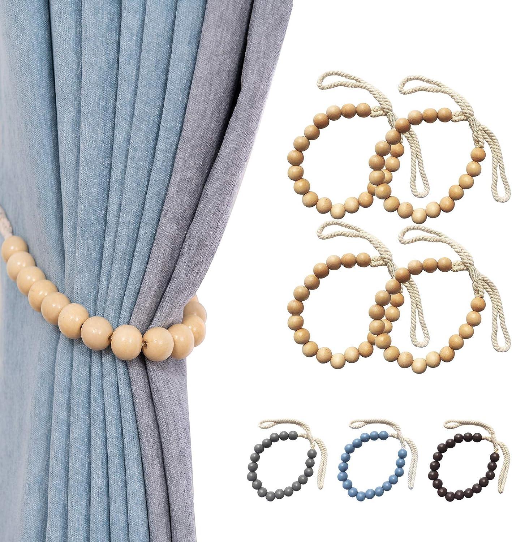 XINQIU Curtain Tiebacks, Decorative Rope Holdbacks with Wooden Beads, Window Drapery Tie Backs, Curtain Holders for Home Office Decor, 4 Pack, Khaki