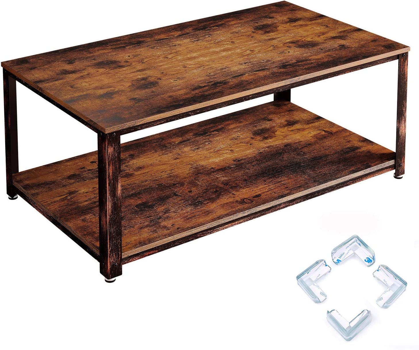Rolanstar Coffee Table, Rustic Coffee Table with Storage Shelf for Living Room, Wood Look Accent Furniture with Stable Metal Frame Rustic Brown