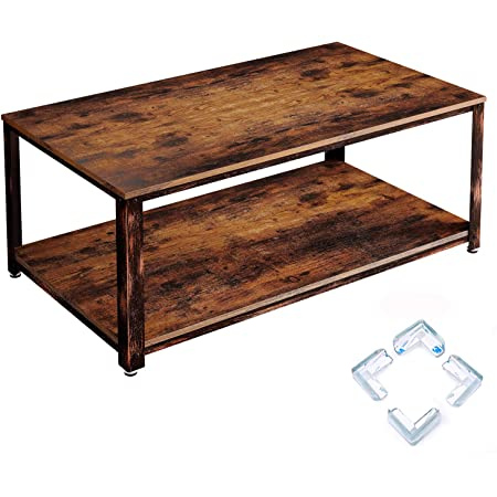Rolanstar Coffee Table Rustic Coffee Table With Storage Shelf For Living Room Wood Look Accent Furniture With Stable Metal Frame Rustic Brown Kitchen Dining
