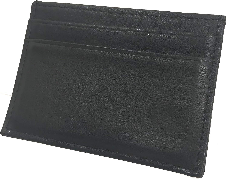 Men's slim wallet card holder black vegan leather