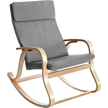 SONGMICS Fauteuil à bascule, Fauteuil berçant en Bois de bouleau, Rembourrage en mousse, Revêtement en imitation lin, Charge max 120 kg, Dimensions 90 x 65 x 98 cm, Anthracite LYY30GY