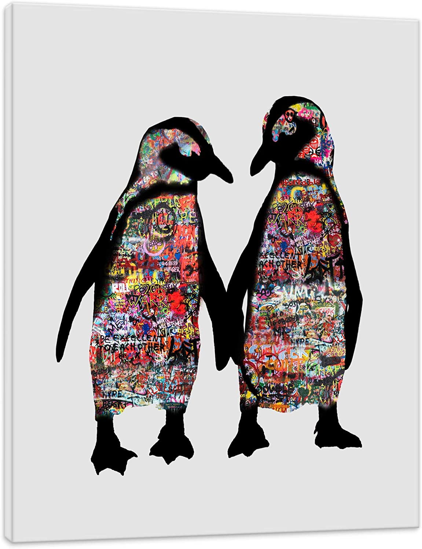 Tierbild Graffiti Pinguin - Penguin Wandbild Tier Tiere Kunstbild Animals - 80x110cm - Kunstdruck 2cm (div. Varianten Gren) - Wandbilder Animal Leinwandbild - fertig aufgespannt