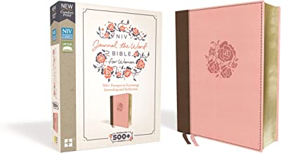 NIV, Journal the Word Bible for Women, Leathersoft, Brown/Pink, Red Letter Edition, Comfort Print: 500+ Prompts to Encourage Journaling and Reflection