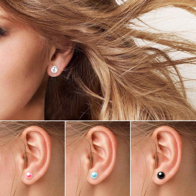 Charisma Pearl Earrings Surgical Steel Pearl Stud Earrings Set for Women Girls Faux Pearl Earrings Pack (3mm- 12mm, White Colored Pearl Earrings)