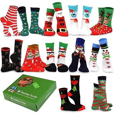 TeeHee - 12 pares de calcetines para temporada festiva (Navidad) con caja de regalo.