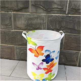 Waterproof Oxford Foldable Laundry Hamper Bucket,Dirty Clothes Laundry Basket, Bin Storage Organizer for Toy Collection,Oxford Cloth Storage Basket with Stylish Cartoon Design (Butterfly) (Size : 3)