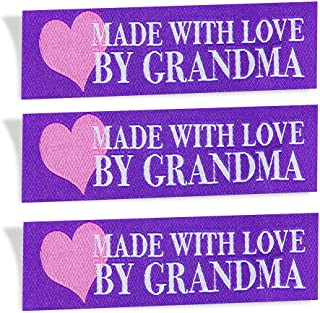 Wunderlabel Made with Love by Grandma Nana Grandmother Heart Crafting Fashion Woven Ribbon Ribbons Tag Clothing Sew Clothes Garment Fabric Material Embroidered Tags, Blue on White on Purple, 25 Labels