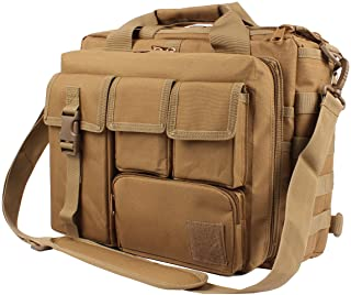 "GES Multifunction Mens Outdoor Tactical Nylon Shoulder Laptop Messenger Bag Briefcase Handbags Large Enough 15.6"" Laptop/Camera (Khaki)"