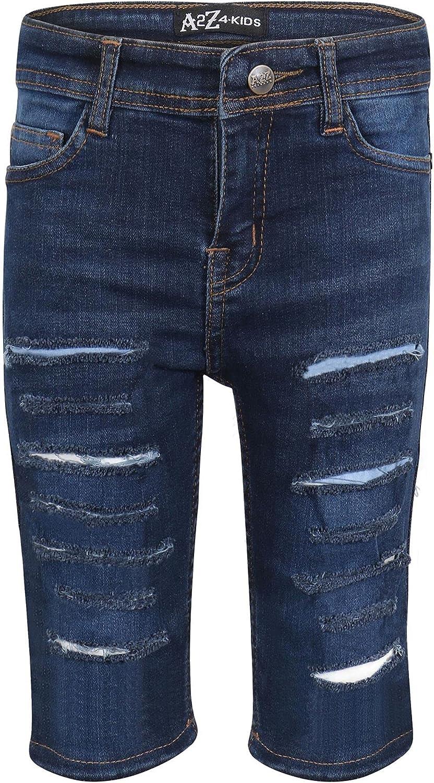 Kids Boys Ripped Denim Shorts Dark Blue Comfort Stretch Skinny Pants Trousers