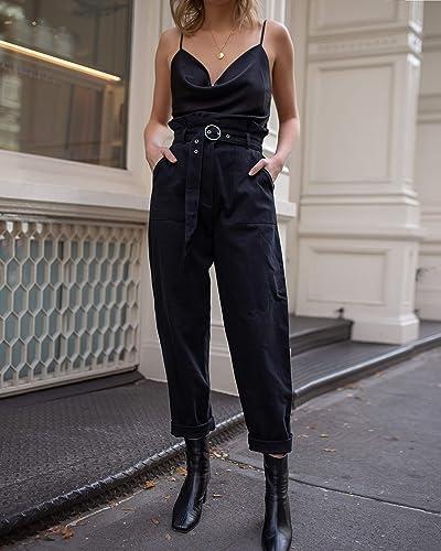 The Drop Pantalón Negro con Cintura Alta Fruncida de Estilo «Paperbag» por @laurie_ferraro