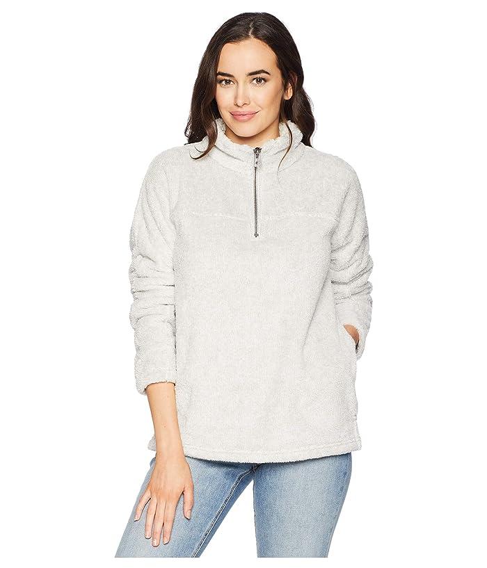 Dylan by True Grit Ultra Soft and Cozy Sweater Fleece 1/4 Zip Stadium Pullover (Heather Grey) Women