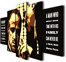 Susu Art - 5 Pcs The Godfather Quotes Family and Friendship Canvas Giclee Print Painting Picture Wall Art Home Decor Gifts (with Framed, Size 2: 12x16inx2pcs, 12x24inx2pcs, 12x32inx1pc)
