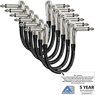 6 Units - 6 Inch - Audioblast HQ-1 - Ultra Flexible - Dual Shielded (100%) - Instrument Effects Pedal Patch Cable w/ ¼ inch (6.35mm) Low-Profile, R/A Pancake Type TS Connectors & Dual Staggered Boots