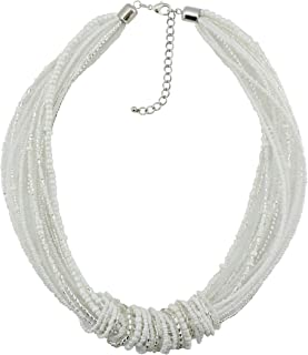 Chunky Statement Colorful Seed Beads Women Choker Collar Necklace (NK-10314-white)