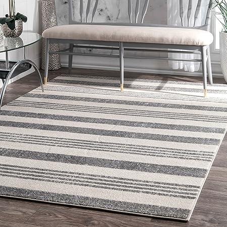 Amazon Com Nuloom Striped Kelsi Area Rug 5 3 X 7 7 Grey Furniture Decor