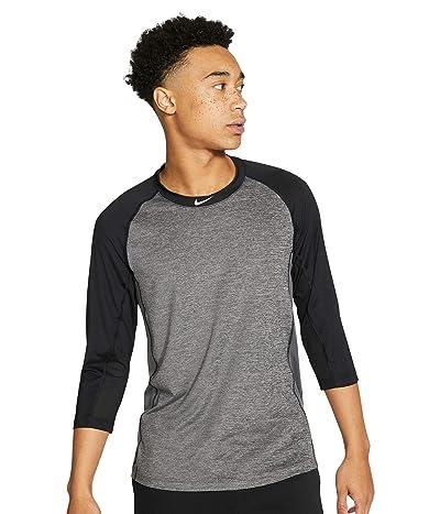 Nike Pro Dry 3/4 Top (Dark Grey Heather/Black/Dark Grey/White) Men