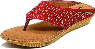 Myra Women's Black T-strap Embellished Flat Sandals    Embellished Fashion Flat Sandal for Women -
