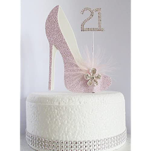21st Pink And White Birthday Cake Decoration Shoe With Feathers Crystal Flower Embellishments Diamante