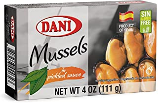 Dani Mussels ( Pack of 25 units ) in Pickled Sauce ( Escabeche) Canned 4 oz ( 110 g)