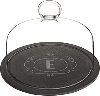 Cathy's Concepts 2197-E Personalized Slate Tray with Glass Dome, Black