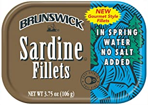 BRUNSWICK Wild Caught Sardine Fillets in Spring Water, 18 Cans
