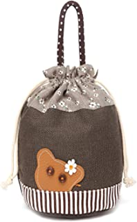 Cute Leather Animal Canvas Drawstring Totes Handbag Storage Organizer Pouch Coffee
