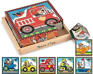 احجية مكعبات خشبية للاطفال فيكلز على شكل مركبات من ميليسا اند دوغ مع لوح تخزين - 6 الغاز في لعبة واحدة، (16 قطعة)