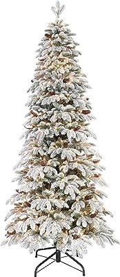Puleo International Pre-Lit Flocked Slim Montville Spruce Artificial Christmas Tree, Green