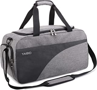 Water Resistant Sports Gym Bag Travel Weekender Duffel Bag with Shoe Compartment and Wet Pocket for Men and Women (Grey & Black)