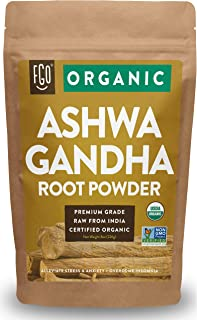 Organic Ashwagandha Root Powder | 8oz Resealable Kraft Bag | 100% Raw from India | by FGO