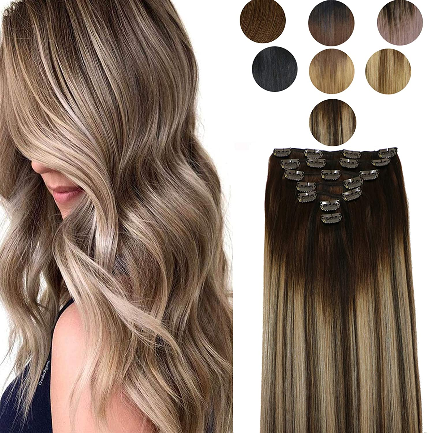 specialty shop Mushroom Brown Hair Max 48% OFF Extensions Clip in with 7pics Human 14