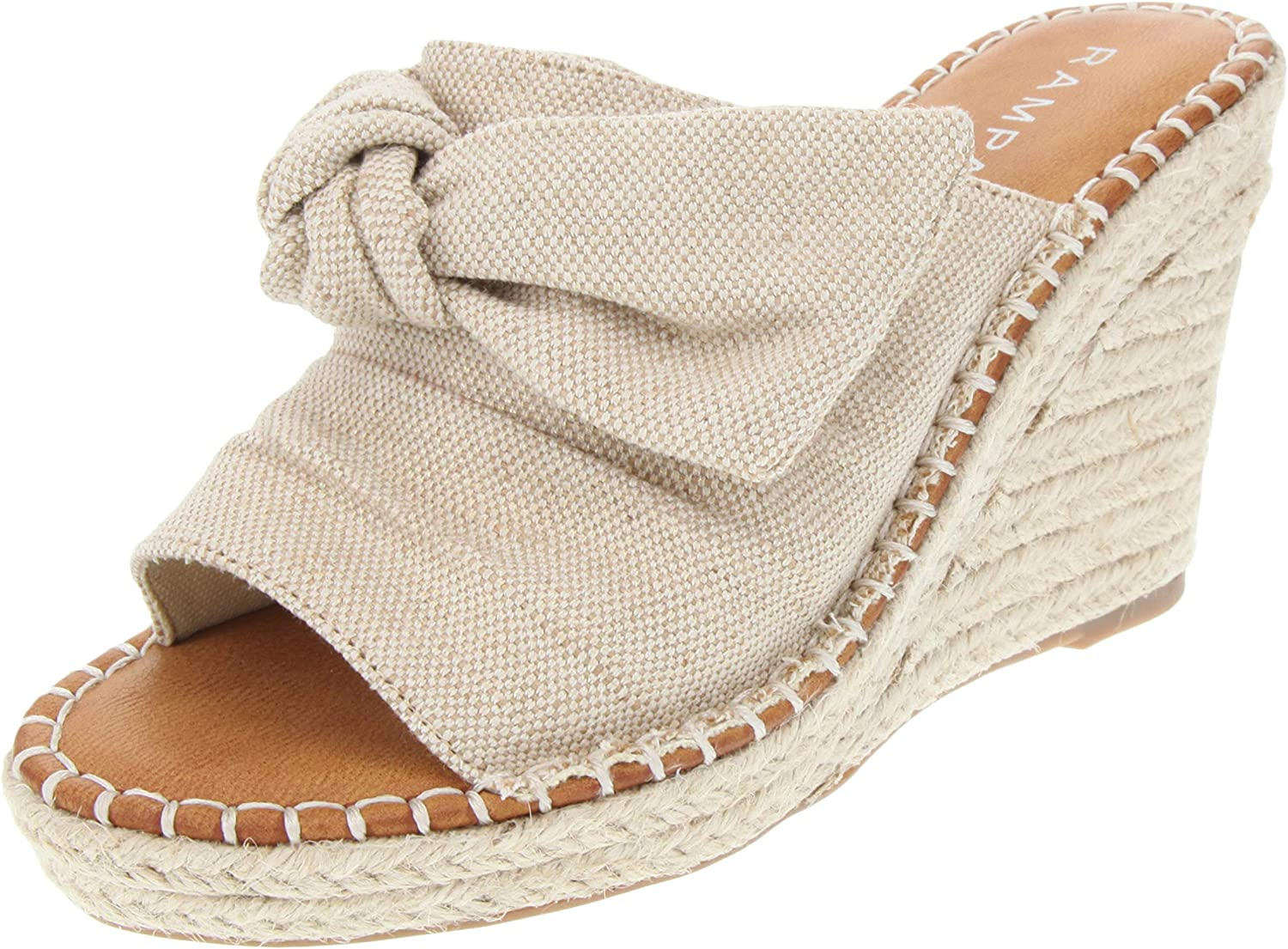 Rampage Women's Hannah Espadrille Wedge Slide Sandal with Knotty Bow Detail