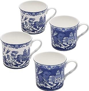Grace Teaware Blue Willow Bone China Coffee Tea Mugs 12-Ounce (2 Assorted Patterns, Set of 4)