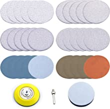 3 inch Multiple Grits Aluminum Oxide Dry & Wet/Dry Hook Loop Sanding Discs a 1/4 inch Shank Backing Pad + Soft Foam Buffering Pad, 5-Pieces Each 60, 240, 600, 1000, 5000 10000 Grits