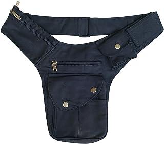 Unisex Canvas Utility Belt | 7 pockets | travel, cosplay, festivals, cotton, hip bag (Black)