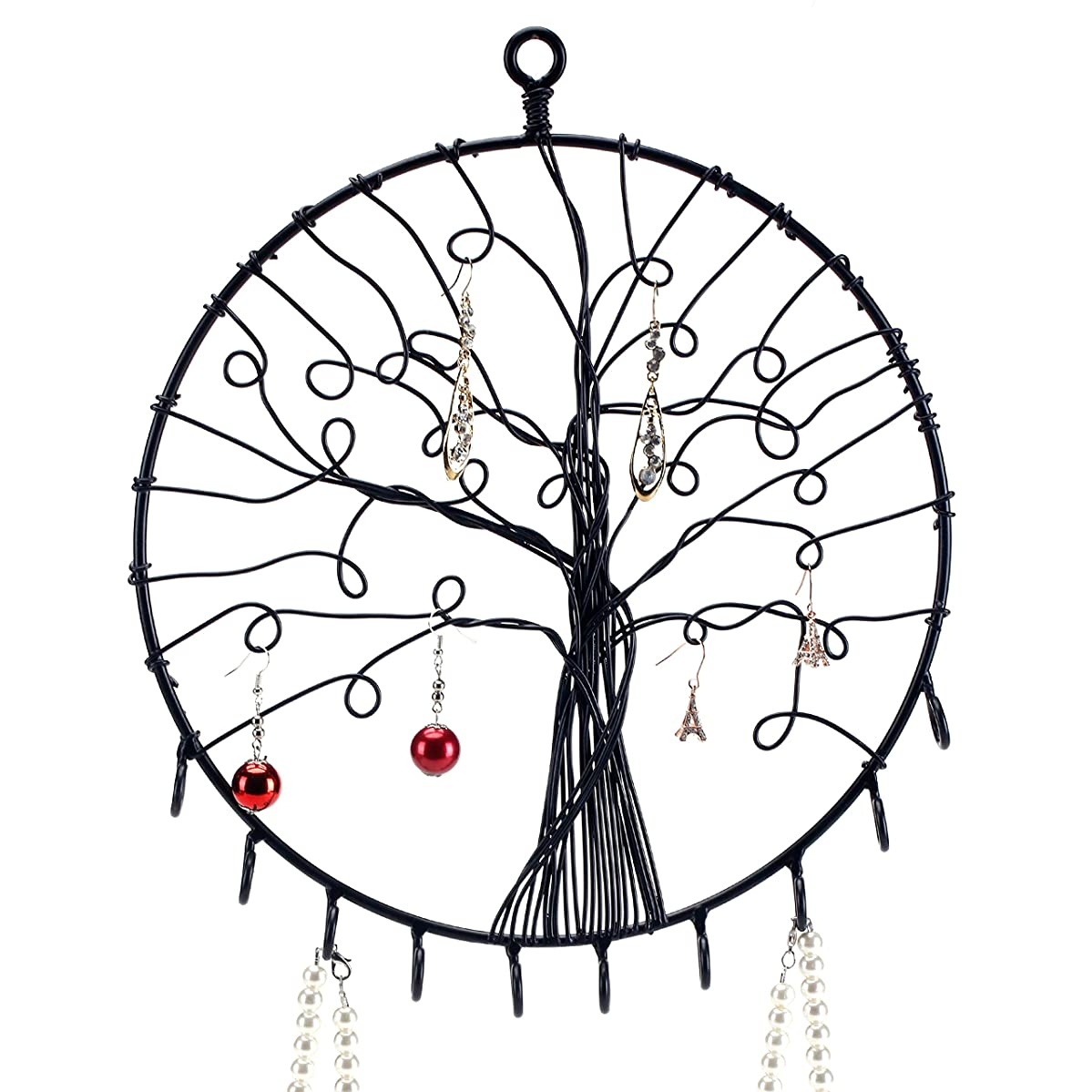MyGift Wall Hanging Round Metal Tree Silhouette Design Jewelry Holder, Earrings and Necklace Hooks, Black