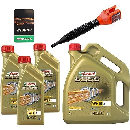 3x 1 L 5 L 8 Liter Castrol Edge Fluid Titanium 5w 30 C3 Motoröl Inkl Castrol Ölwechselanhänger Und Einfülltrichter Auto
