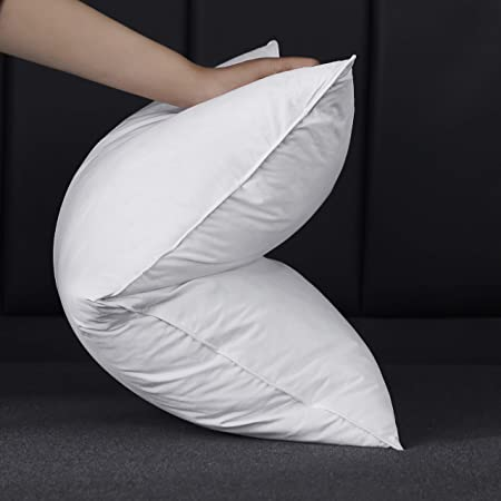 Alanzimo Queen Size Siberian Goose Feather Blended Down Pillow for Sleeping 100% Egyiptian Cotton 600Fill Power-Package Include 1 Pillow