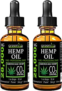 (2 Pack) GreenIVe 28,000mg Hemp Oil Anti-Inflammatory, Rapid Pain Relief, Stress Reducer, Vegan Omegas C02 Extraction Exclusively on Amazon (2 Pack)
