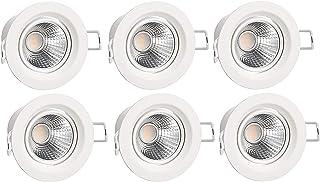 Amazon Basics 5 W LED Spot encastré intégré rond 70 mm (Découpé) 4000 K Blanc froid, 6 unités