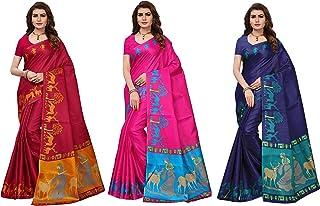 GoSriKi silk with blouse piece Saree (JANGAL-COMBO-03-FLEX_ Multicolor_ Free Size)