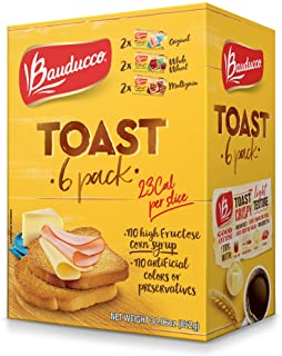 Bauducco Toast, Light & Crispy Toasted Bread, No Artificial Flavors, Original, Whole Wheat & Multigrain, 30.06oz (Pack of 6)