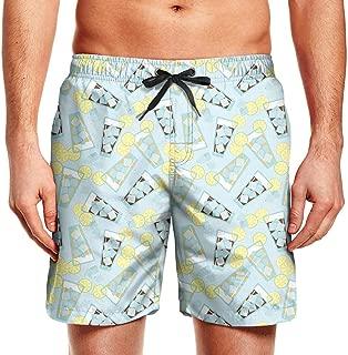 Mens Guys Yellow-Lemon-Cartoon- Board Shorts Stretch Swimming Beach Shorts