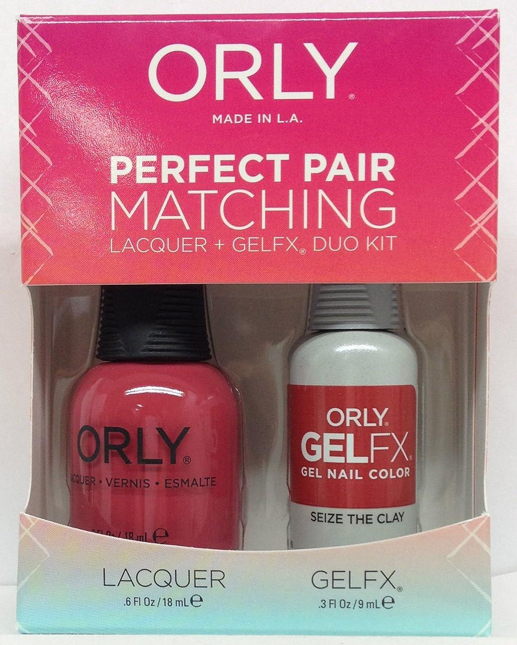 ワークショップトランクライブラリ付添人Orly - Perfect Pair Matching Lacquer + GelFX Kit - Seize the Clay - 0.6 oz/0.3 oz