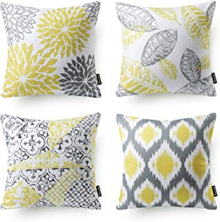 Phantoscope Set of 4 New Living Series Decorative Yellow and Grey Throw Pillow Case Cushion Cover Double Side Design 18 x 18 inches 45cm x 45cm